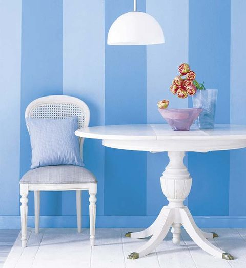 Blue, Room, Table, Furniture, Light fixture, Lampshade, Lamp, Teal, Interior design, Flowerpot,