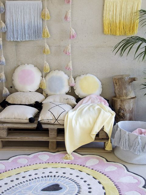 Room, Pink, Furniture, Purple, Interior design, Living room, Wall, Lavender, Yellow, Bedroom,