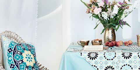 Blue, Tablecloth, Textile, Room, Teal, Furniture, Linens, Turquoise, Aqua, Petal,