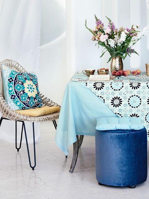Blue, Textile, Tablecloth, Room, Furniture, Teal, Interior design, Aqua, Turquoise, Petal,