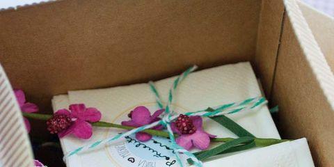 Petal, Pink, Purple, Lavender, Paper product, Shipping box, Magenta, Carton, Box, Lilac,