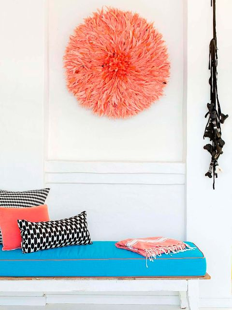 Turquoise, Orange, Pink, Furniture, Pom-pom, Red, Room, Teal, Wall, studio couch,