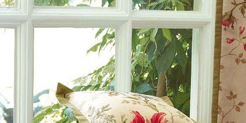 Green, Interior design, Room, Textile, Linens, Pink, Bedding, Pattern, Fixture, Cushion,