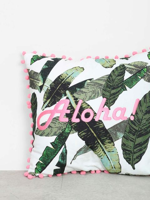 Pink, Leaf, Design, Pattern, Plant, Textile, Furniture, Cushion, Fictional character, Flower,