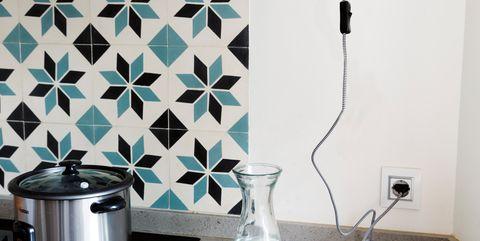 Tile, Shelf, Room, Furniture, Turquoise, Wall, Black-and-white, Kitchen, Interior design, Floor,