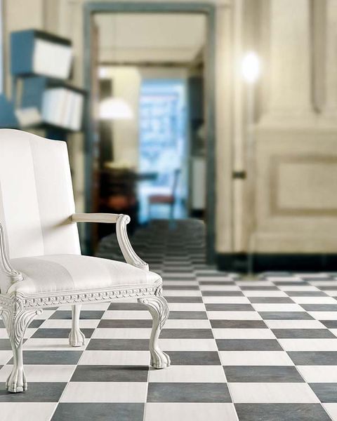 Floor, Flooring, White, Furniture, Tile, Door, Design, Armrest, Tile flooring, Home door,