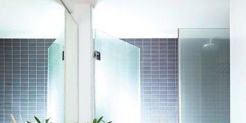 Plumbing fixture, Architecture, Room, Tile, Property, Interior design, Floor, Glass, Flooring, Wall,