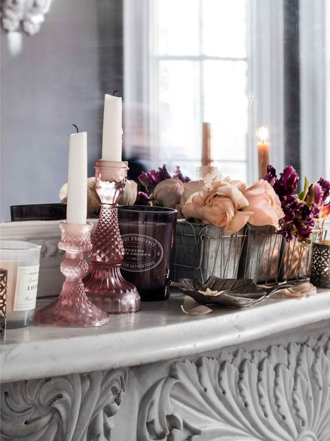 Room, Pink, Interior design, Perfume, Lavender, Purple, Interior design, Peach, Bouquet, Still life photography,