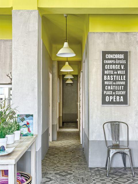 Wall, Floor, Ceiling, Light fixture, Flowerpot, Houseplant, Tile, Ceiling fixture, Windsor chair, Herb,