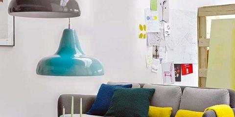 Blue, Yellow, Room, Interior design, Furniture, Wall, Couch, Interior design, Table, Living room,