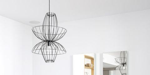 White, Room, Dining room, Chandelier, Ceiling, Interior design, Furniture, Lighting, Table, Light fixture,