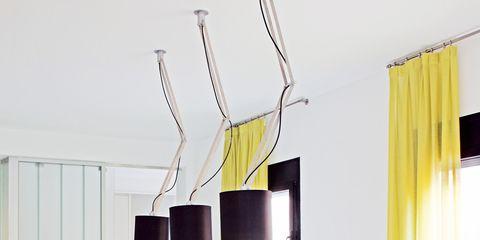 Yellow, Interior design, Room, Table, Furniture, Interior design, Window treatment, Home, Curtain, Window covering,