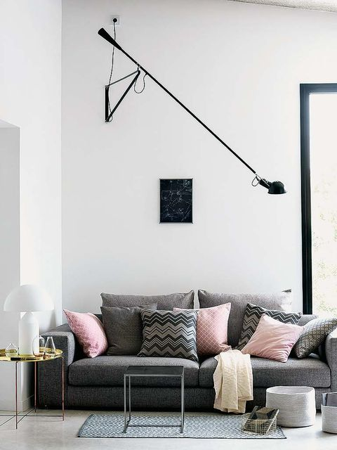 Room, Interior design, Living room, Wall, Home, Furniture, White, Couch, Style, Interior design,