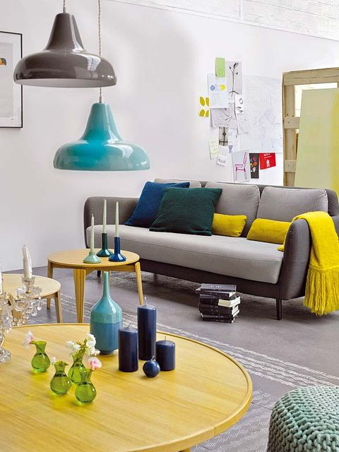 Blue, Green, Room, Yellow, Interior design, Wall, Bottle, Furniture, Drinkware, Table,
