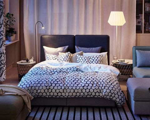 Furniture, Bedding, Room, Bed sheet, Interior design, Blue, Bedroom, Property, Bed, Bed frame,
