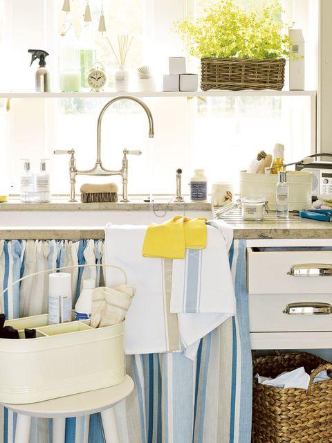 Blue, Room, Yellow, Plumbing fixture, Interior design, Kitchen, Aqua, Azure, Sink, Turquoise,
