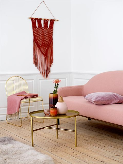 Furniture, Room, Red, Interior design, Pink, Floor, Product, Couch, Table, Bed,