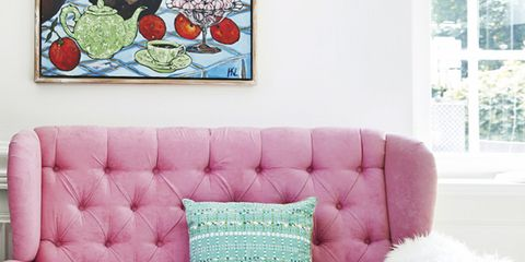 Blue, Green, Interior design, Room, Furniture, White, Living room, Wall, Pink, Couch,