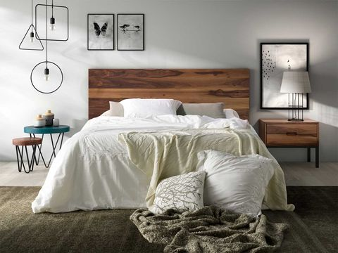 Bedroom, Furniture, Bed, Room, White, Bed frame, Wall, Interior design, Bed sheet, Nightstand,