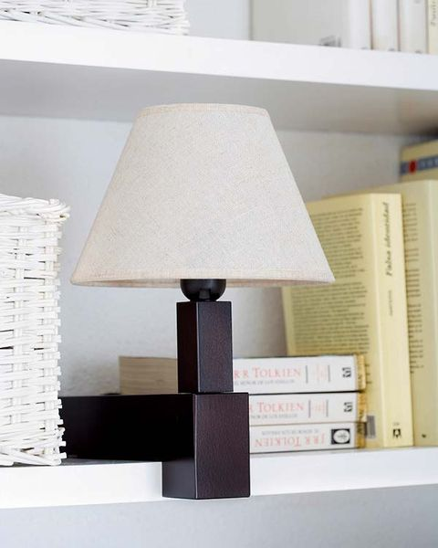 Lampshade, Wall, Lighting accessory, Lamp, Interior design, Publication, Shelving, Grey, Tints and shades, Rectangle,