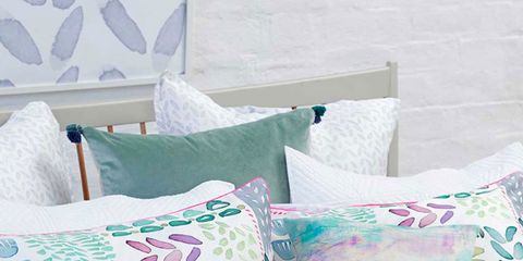 Blue, Green, Textile, Cushion, Throw pillow, Linens, Room, Bedding, Pillow, Pink,