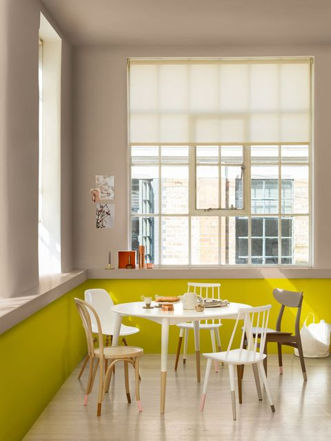 Room, Yellow, Interior design, Furniture, Property, Building, Table, Dining room, Wall, House,