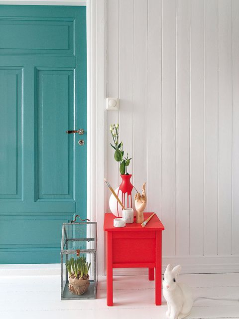 Red, Furniture, Green, Room, Table, Door, Turquoise, Interior design, Wall, Window,