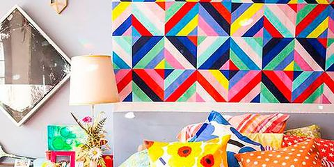 Yellow, Room, Orange, Textile, Interior design, Bedding, Bedroom, Furniture, Pattern, Bed,