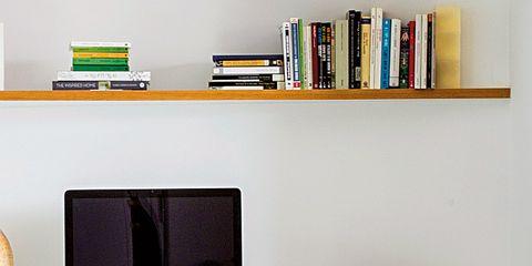 Shelf, Furniture, Shelving, Room, Living room, Computer desk, Interior design, Wall, Table, Desk,