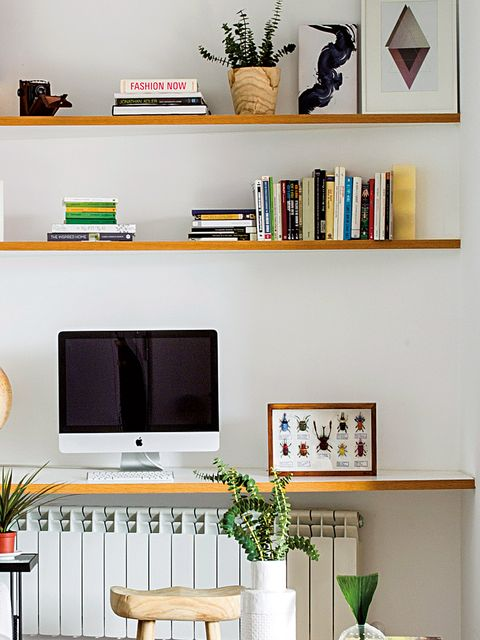 Shelf, Shelving, Furniture, Room, Bookcase, Wall, Computer desk, Interior design, Living room, Desk,