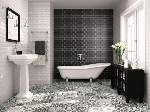 Plumbing fixture, Architecture, Room, Interior design, Floor, Tile, Property, Flooring, Wall, Tap,