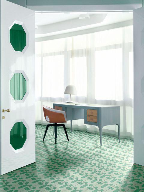 Floor, Room, Interior design, Flooring, Table, Furniture, Wall, Interior design, Glass, Teal,