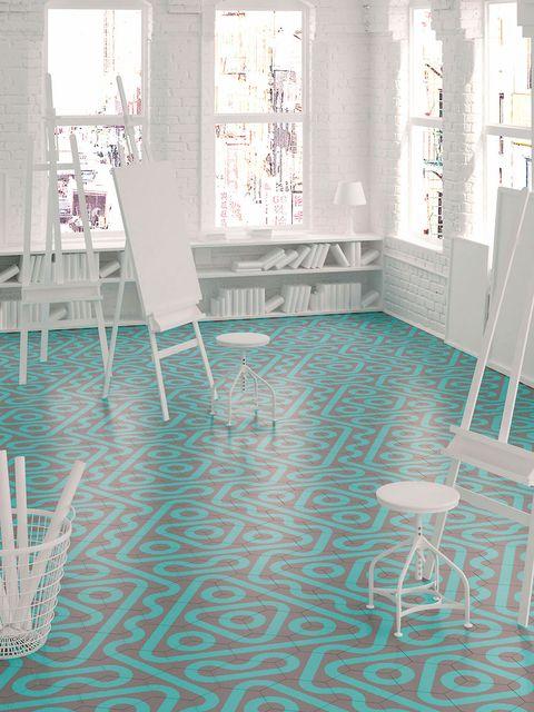 Floor, Flooring, Room, Interior design, Wall, Tile, Tile flooring, Hall, Chair, Turquoise,