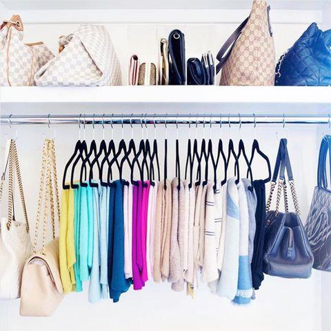 Shelf, Clothes hanger, Room, Closet, Furniture, Shelving, Fashion accessory,