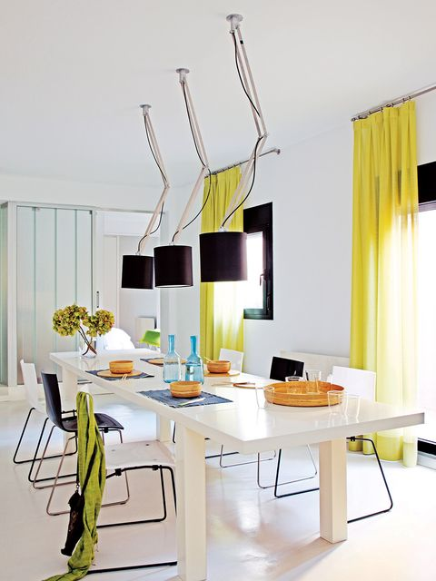 Furniture, White, Room, Interior design, Dining room, Yellow, Table, Property, Lighting, Light fixture,