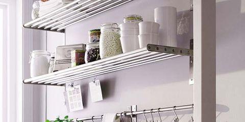 Interior design, Shelving, Shelf, Collection, Dishware, Porcelain, Still life photography, Office supplies, Silver, Kitchen utensil,