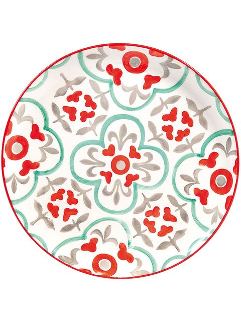 Pattern, Red, Colorfulness, Art, Circle, Teal, Dishware, Visual arts, Design, Coquelicot,