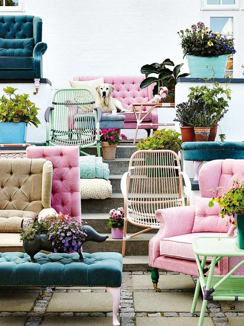 Furniture, Outdoor furniture, Flowerpot, Teal, Turquoise, Houseplant, Outdoor sofa, Couch, Armrest, studio couch,