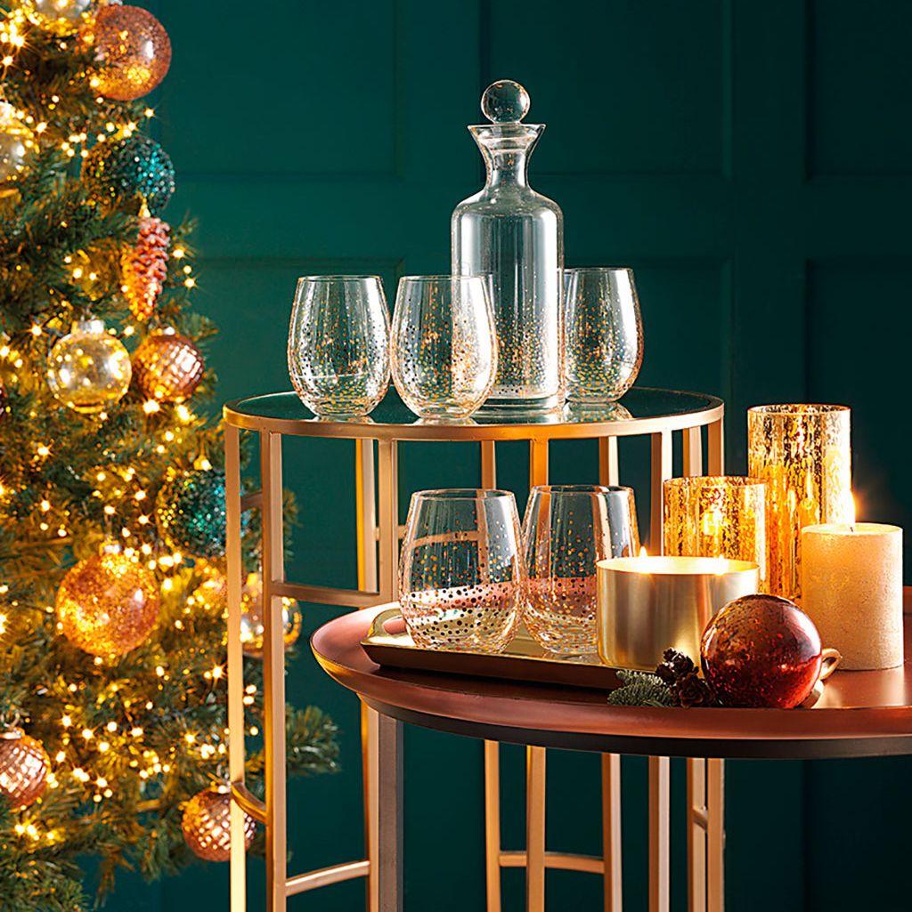 Juego de cristalería navideña