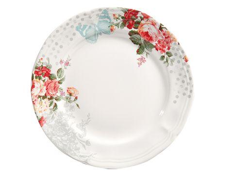Serveware, Dishware, Pink, Porcelain, Circle, Creative arts, Ceramic, Plate, Floral design, Platter,
