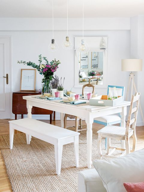 Furniture, Dining room, Room, White, Table, Property, Interior design, Pink, Chair, Home,