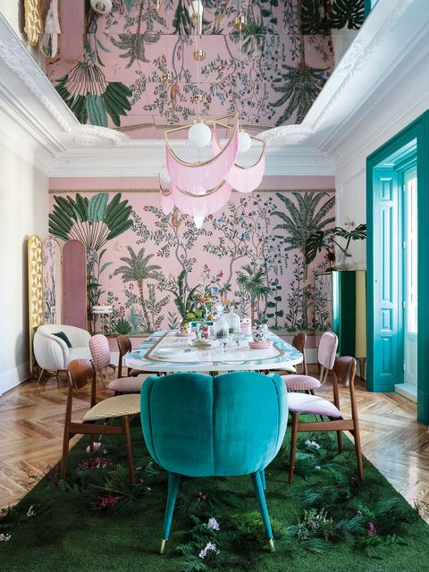 Room, Green, Interior design, Dining room, Turquoise, Furniture, Property, Pink, Home, Wall,