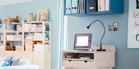 Furniture, Desk, Shelf, Computer desk, Turquoise, Table, Room, Shelving, Writing desk, Interior design,