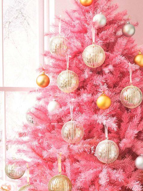 Christmas tree, Christmas decoration, Pink, Christmas ornament, Branch, Tree, Interior design, Christmas, Design, Ornament,
