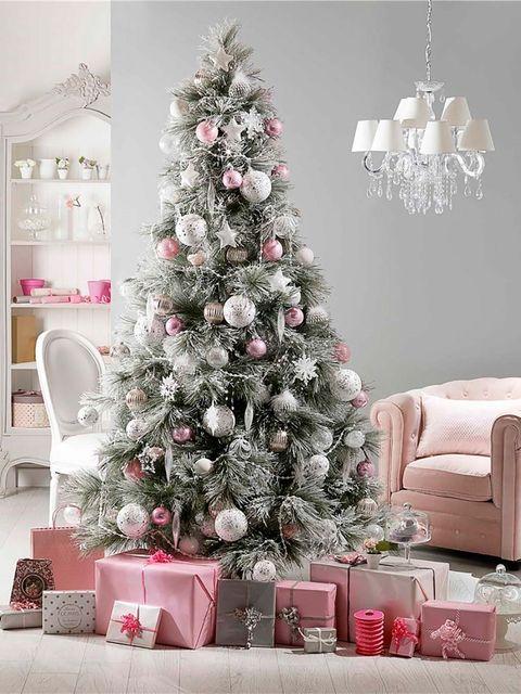 Christmas tree, Christmas decoration, Tree, Christmas ornament, Christmas, Colorado spruce, Pink, Room, Branch, Home,