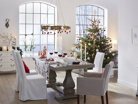 Room, Interior design, Tablecloth, White, Furniture, Table, Floor, Interior design, Linens, Decoration,