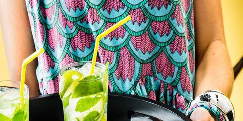 Green, Drink, Cocktail, Tableware, Pattern, Cocktail garnish, Produce, Liquid, Alcoholic beverage, Distilled beverage,