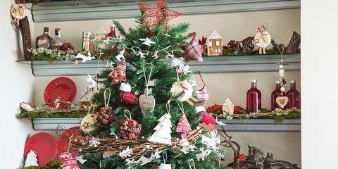 Interior design, Event, Christmas decoration, Room, Red, Christmas tree, Christmas ornament, Interior design, Home, Holiday ornament,