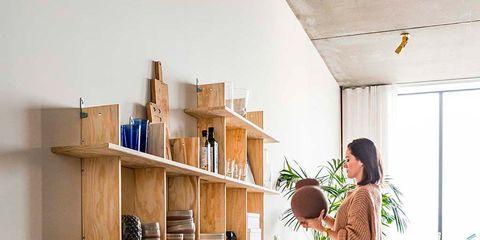 Shelf, Shelving, Furniture, Room, Desk, Interior design, Bookcase, Wood, Table, Building,