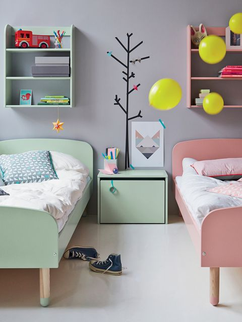Furniture, Bedroom, Bed, Room, Interior design, Bed sheet, Pink, Turquoise, Product, Yellow,
